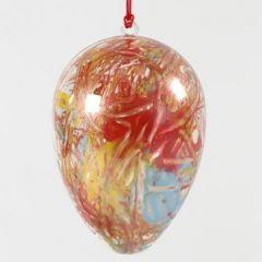 Een tweedelig transparant ei met abstracte kunst