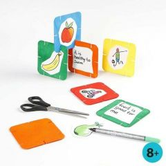 Painted and Marker-decorated white Card Construction Pieces