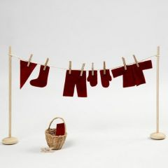 Een miniatuur waslijn met kabouter kleren