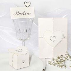 Trouw decoraties met strasstenen hart stickers
