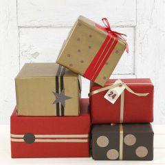 Goud, rood en zwart cadeaupapier