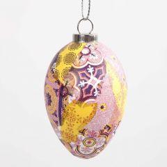 Een ei met Decoupage met patroon in roze harmonie