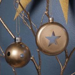 Glazen kerstballen met Goud Spray Acrylverf