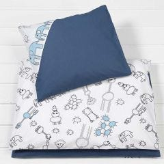 Dekbedhoes en kussensloop gedecoreerd met textielstiften