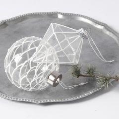 Hangende decoraties van glas gedecoreerd met 3D Sneeuw Effect