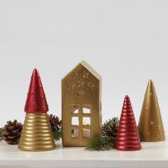 Terracotta kerstdecoraties geverfd met Art Metal verf