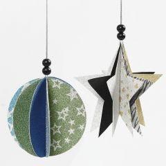 Hangende decoraties van papier en glitter