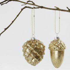 Kerstballen van glas met goud glitter