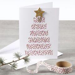 Kerstkaart met kerstboom van masking tape