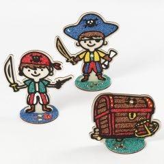 Piraten en schatkist gedecoreerd met Foam Clay