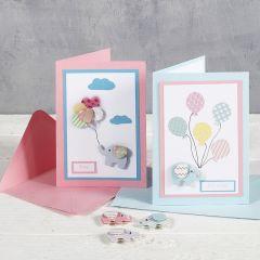 Babyshower geschenklabels gedecoreerd met design stickers