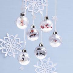 Kerstballen met tekeningen van pooldieren