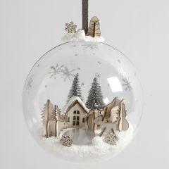 Miniatuurwereld van Foam Clay in een kerstbal