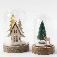 Stolp met gedecoreerde kerstfiguren en veel glitter