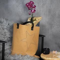 Faux Leather papieren tas gedecoreerd met geborduurde rand en een ster