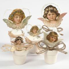 Vintage Die-cut engelen in kleine bloempotten
