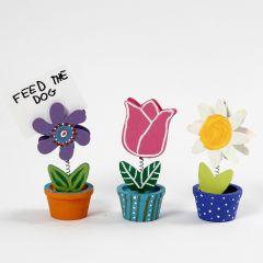 Houten bloemen memo houders met Plus Color Acrylverf