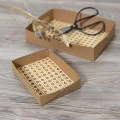 Dienbladen van Faux Leather gedecoreerd met rattan