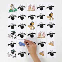 Shaun het Schaap memoryspel gekleurd met stiften