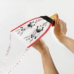 Shaun het schaap schiet vlieger gekleurd met textielstiften