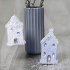 Decoratieve huizen voor kerst met Sticky Base en glitter