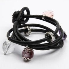 Leather bracelet with heart charms