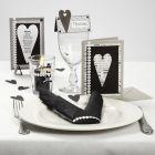 Kaartenserie met Design papier en satijnlint met harten