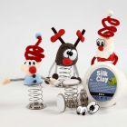 Silk Clay kerstfiguren op een springveer