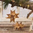 Kerstster gevlochten van faux leather paper vlechtstroken
