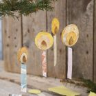 Hanging decorations from scrap pieces of paper