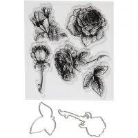 Stempels en snijmallen, bloemen, afm 4-6,5 cm, 1 doos