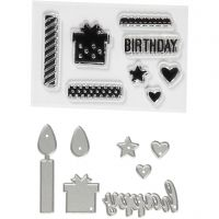 Stempels en snijmallen, verjaardag, afm 10-70 mm, 1 doos