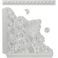 Stans- en embossing mallen, decoratieve hoeken, afm 14,5x1,5 cm, 1 stuk