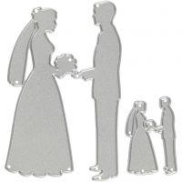 Snijmal, bruidspaar, afm 52x81+23x35 mm, 1 stuk