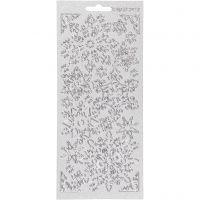 Stickers, sneeuwvlok, 10x23 cm, zilver, 1 vel