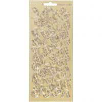 Stickers, vlinders, 10x23 cm, goud, 1 vel