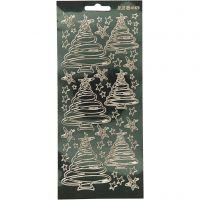 Stickers, kerstbomen, 10x23 cm, goud, 1 vel