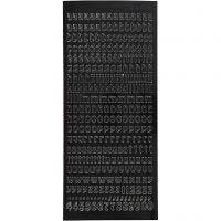 Stickers, kleine letters, klein, 10x23 cm, zwart, 1 vel
