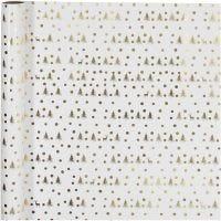 Inpakpapier, kerstboom met rendier, B: 70 cm, 80 gr, goud, wit, 2 m/ 1 rol