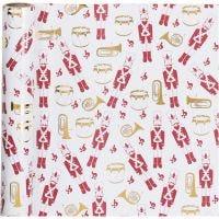 Inpakpapier, notenkraker, B: 70 cm, 80 gr, goud, rood, wit, 2 m/ 1 rol