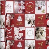Inpakpapier, kerstmotieven, B: 50 cm, 80 gr, goud, rood, 3 m/ 1 rol