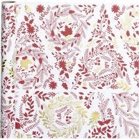 Inpakpapier, kerstbomen, B: 50 cm, 80 gr, goud, rood, wit, 3 m/ 1 rol