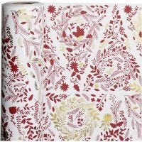 Inpakpapier, kerstbomen, B: 50 cm, 80 gr, goud, rood, wit, 100 m/ 1 rol