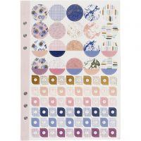 Stickerboek, bloemen, A5, goud, paars, roze, 1 stuk/ 1 doos