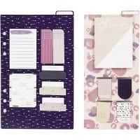 Post-it en boekenlegger set, afm 10,3x22 + 13,8x22 cm, goud, paars, roze, 2 vel/ 1 doos