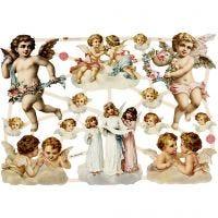 Vintage plaatjes, grote engelen, 16,5x23,5 cm, 3 vel/ 1 doos