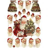 Vintage plaatjes, kerstman met bellen, 16,5x23,5 cm, 3 vel/ 1 doos