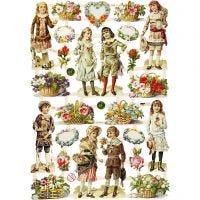 Vintage plaatjes, kinderen en bloemen, 16,5x23,5 cm, 3 vel/ 1 doos