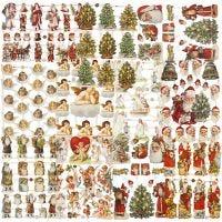 Vintage plaatjes, kerstmis, 16,5x23,5 cm, 30 vel/ 1 doos