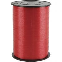Cadeaulint, B: 10 mm, glossy, rood, 250 m/ 1 rol